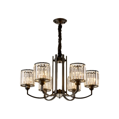 Matte Black Cylinder Pendant Light Fixture Modern Crystal 3/6/8 Light Pendant Chandelier for Indoor