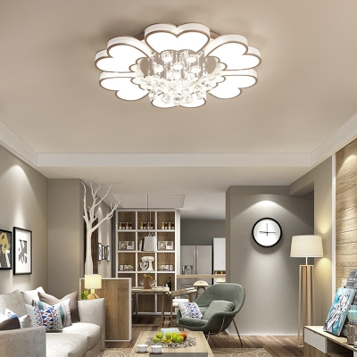 Matte White Flower Ceiling Lamp Modern Style Led Metal Flush Mount Light in White/Warm