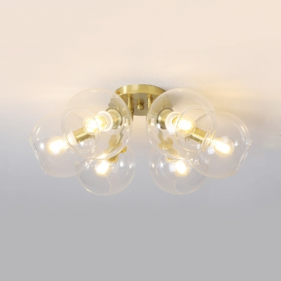 Modern Global Semi Flush Ceiling Light 6 Light Gold Finish Ceiling Light Fixture for Bedroom