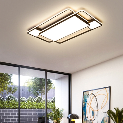 Modern Simple Geometry Ceiling Mounted Lights Metallic Black and White Ceiling Lamp