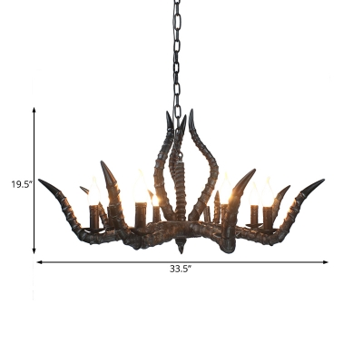 Resin Horn Chandelier Lighting Countryside Multi Light Hanging Lamp with Candle Design