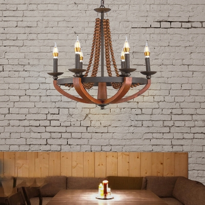 Rust Candle Chandelier with Wooden Bead Country Style Metal 6 Light Hanging Pendant Light