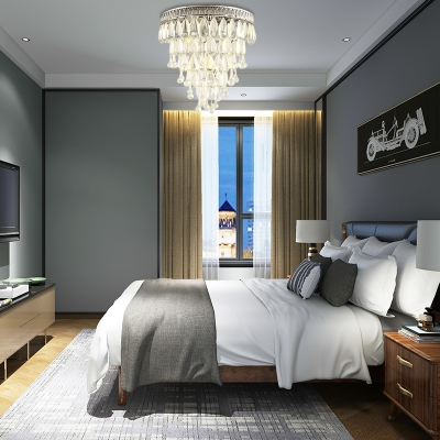 Silver Raindrop Ceiling Lights Modern Crystal Metal 3 Heads Lighting Fixture for Hallway