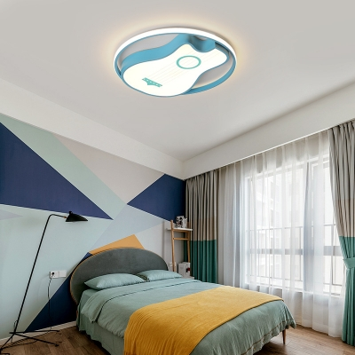 Sky Blue Novelty Guitar Flush Mount Metal 1 Light Flush Mount Lighting Fixtures for Kids Room