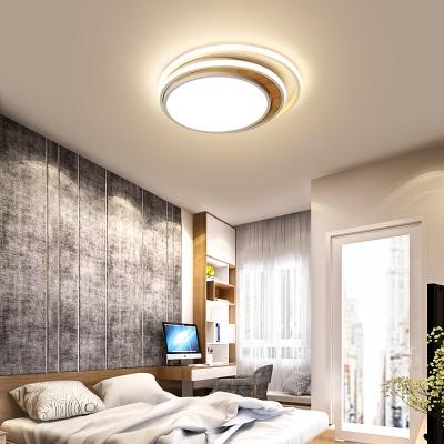 Tiered Design Bedroom Ceiling Lamp Acrylic LED Modern Flush Lighting in Black/White