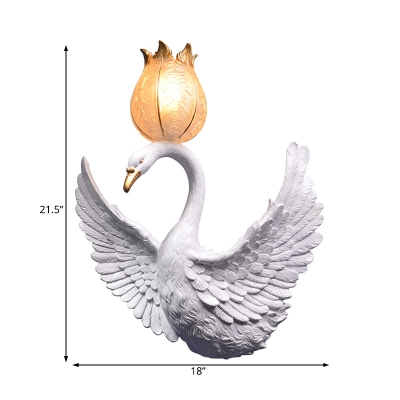 White Swan Wall Mounted Light with Flower Shaped Shade Resin Vintage Wall Light
