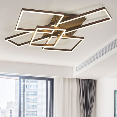 2/3/4 Light Square Flush Mount Ceiling Fixture Modern Metal Ceiling Light in Brown for Living Room