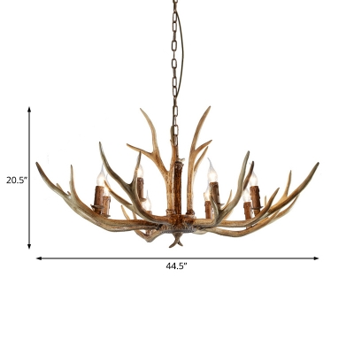 8 Lights Antler Pendant Lighting with Candle Resin Country Hanging Chandelier for Foyer