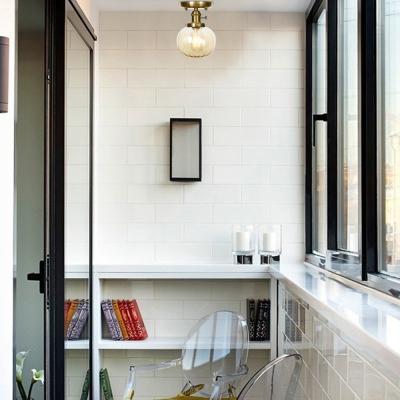 Antique Brass Semi Flush Mount Light Aged Metal 1 Head Semi-Flush Light with Glass Shade for Bathroom