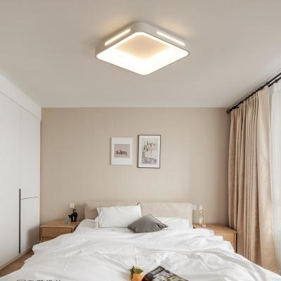 Bedroom Square Ceiling Flush Mount Lighting Metallic Nordic Style LED White Ceiling Lamp