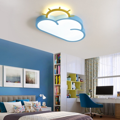 Cartoon Cloud Flush Ceiling Light with Sun Design Integrated Led Flush Lighting