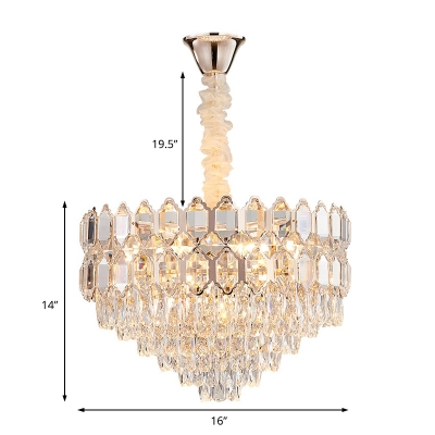 Champagne Gold Geometric Pendant Lighting Modern Crystal Sparkling Hanging Lamps for Dining Room