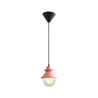 Cone and Globe Pendant Lighting Nordic Style Metal 1-Light Hanging Lamps with Dual Glass Shades