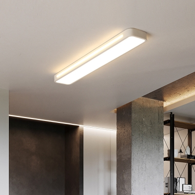 Contemporary Rectangle Flush Mount Ceiling Fixture LED Acrylic Ceiling Lamp in White