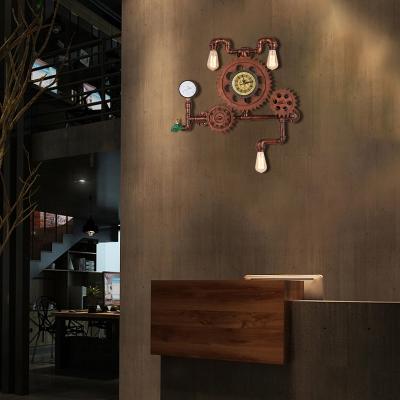 Copper Gear Sconce Light Fixture Aged Iron 3 Light Pipe Wall Sconce Light Fixture for Restaurant Coffee Shop