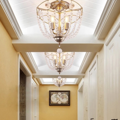 Crystal Beaded Semi Flush Ceiling Lights Traditional Candle Ceiling Lights in Olde Silver for Foyer