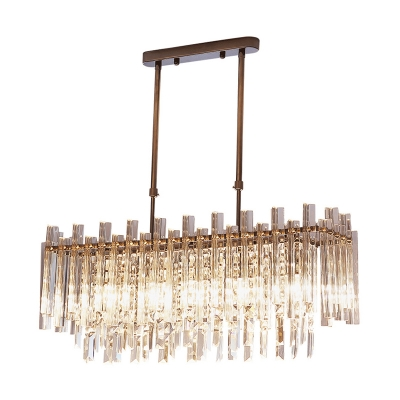 Crystal Fringe Hanging Lights Contemporary 5 Light Linear Pendant with Adjustable Stem for Island