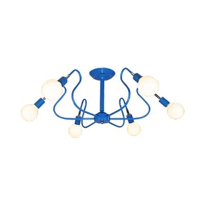Curve Bedroom Semi Flush Ceiling Light Metal 3/6 Light Modern Flush Mount Light in Blue/Red