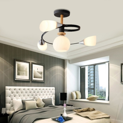 Curve Bedroom Semi Flush Ceiling Light Metal 4/6 Light Modern Flush