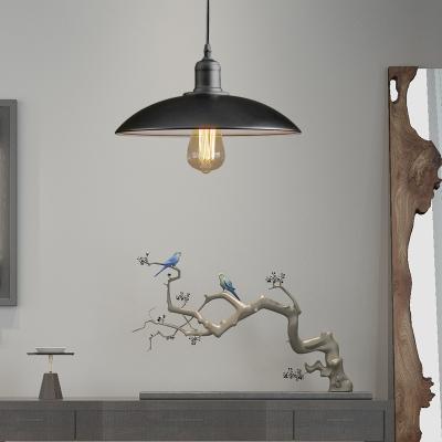 Domed Hanging Ceiling Fixtures Antiqued Steel Single-Bulb Pendant Lights for Bedroom, HL559409, Black;white