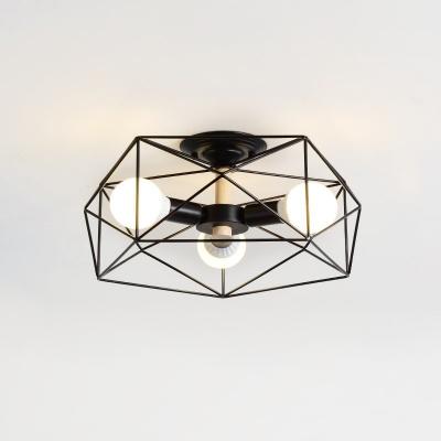 Geometric Semi-Flush Mount Contemporary Steel Unique Semi Flush Chandelier for Bedroom