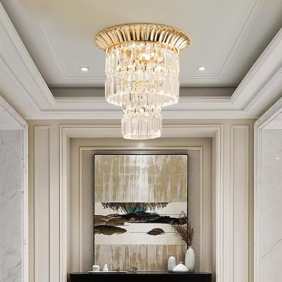 Gold/Chrome 2-Tier Ceiling Fixture Modern Crystal Metal Cylinder Ceiling Lights for Foyer
