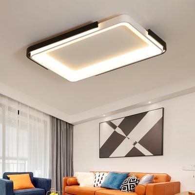 Metal Square/Rectangle Ceiling Flush Mount Light Fixture Minimalist Style LED Flush Light in Black and White