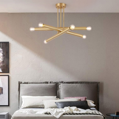 Mid Century Modern Linear Chandelier Light 6 Bulb Metal Brass Hanging Lamp with Sputnik Design