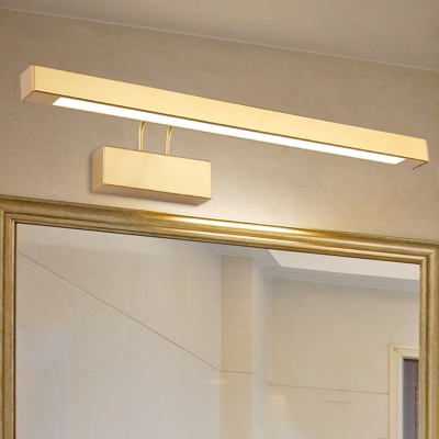 Modern Brass Linear Wall Sconce for Bathroom, Metal and Acrylic Wall Light Fixture in White/Warm White