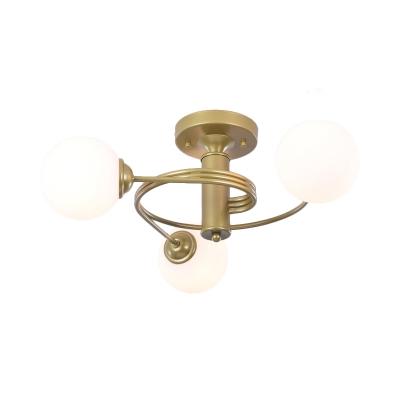 Modern Global Shade Semi-Flush Ceiling Light 3/5 Light Metal Flush Mount Light in Gold for Living Room
