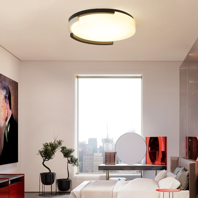 Modern Simple Black Frame Ceiling Light Fixture with Drum Shade LED Acrylic Ceiling Mounted Light