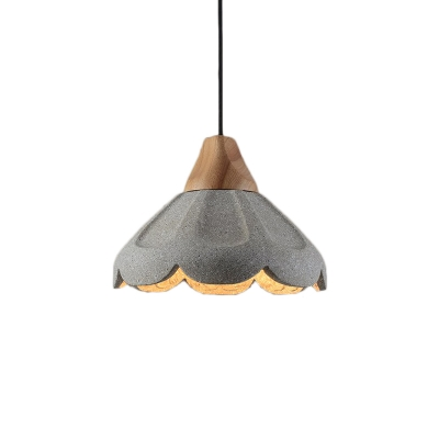 Nordic Style Scalloped Pendant Lighting Concrete 1-Light Hanging Light Fixture with Wooden Cap
