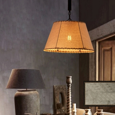 Pyramid Pendant Lights Rustic Fabric 1-Light Unique Pendant Light Fixtures for Kitchen Dining, HL559487