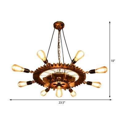 9 Heads Pendant Chandelier Vintage Iron Gear Hanging Light Fixtures for Restaurant Kitchen Table