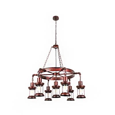 Antique Copper Hanging Pendant Lights Antique Metal Cage Hanging Chandelier Light for Living Room