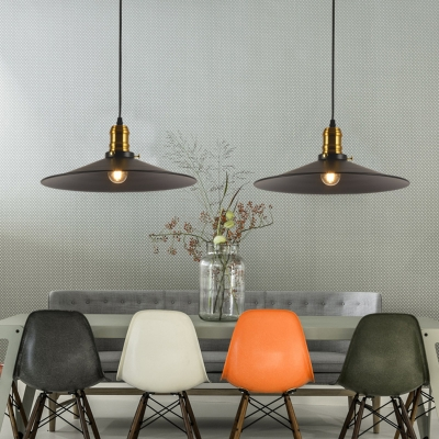 Cone Shade Hanging Lamp Retro Style Black and Satin Brass Single Pendant with Metal Shade