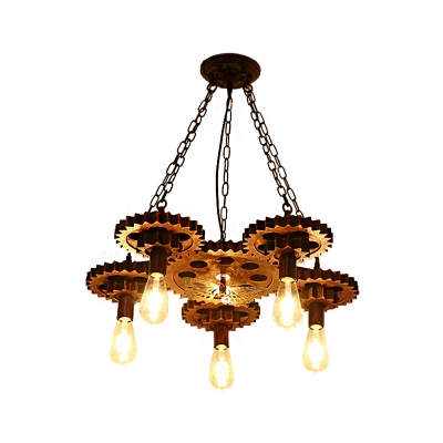 Creative Open Bulb Pendant Ceiling Light Vintage Iron Gear Hanging Light Fixtures for Dining Room