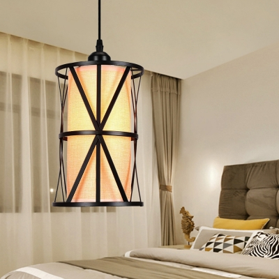 Cylinder Cage Hanging Light Fixtures for Dining Table, Vintage Iron 1 Light Pendant Lights in Black
