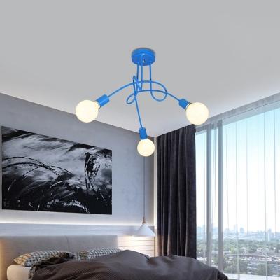 Living Room Curve Semi Flush Ceiling Light Metal 3/5 Light Contemporary Blue/Red Flush Mount Light