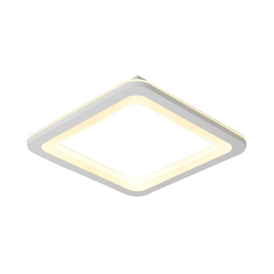 Metal Rounded Square Ceiling Flush Modern Simple LED Bedroom Ceiling Lights Fixture in White