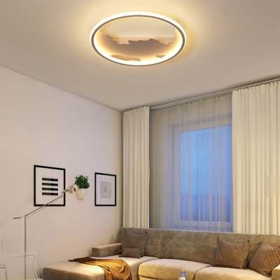 Metallic Etched Ceiling Lamp Nordic LED Flush Mount Ceiling Lighting in White
