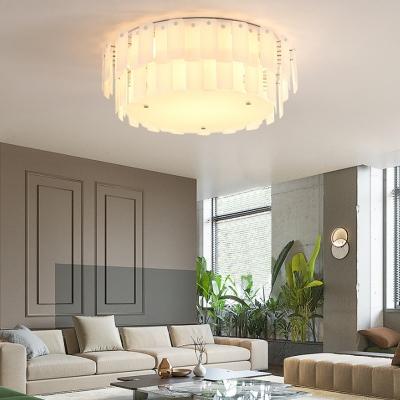 Modern Drum Flush Mount Ceiling Light Glass White Ceiling Light Fixture for Living Room