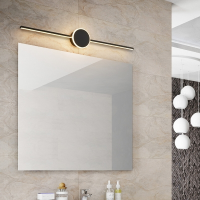 Modern Round/Oval Wall Sconce for Bathroom, Metal and Acrylic Wall Fixture in Black/White