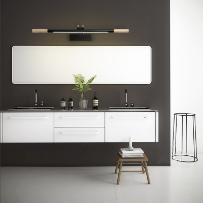 Nordic Style Black/White Vanity Light Metal and Wood Wall Sconces with Warm/White Lighting