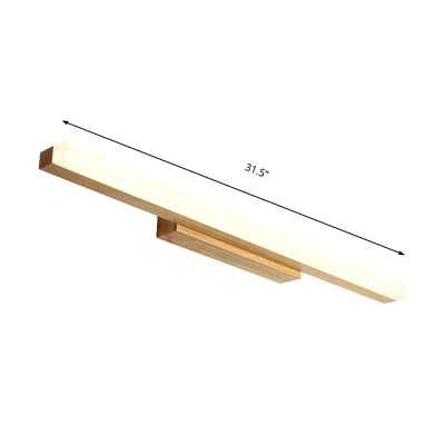 Rectangular Wall Mount Light with Acrylic Diffuser Nordic Wood Integrated Led Vanity Light for Bathroom
