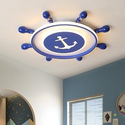 Round Rudder Flush Mount Light Kids Nordic Acrylic Led Flush Lighting in Navy Blue