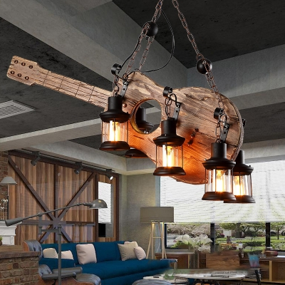 Unique Guitar Pendant Lights Iron and Wood 6 Heads Black Hanging Ceiling Lights for Restaurant