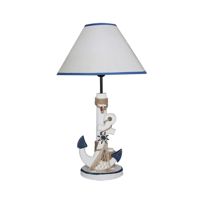 White and Blue Anchor Desk Lamp Coastal Wood and Fabric Accent Lamp with Rope Fishnet for Children Bedroom