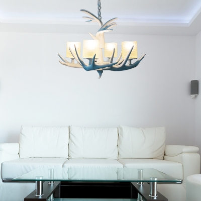 White Antler Suspension Light with Candle Village Resin Chandelier Light for Living Room