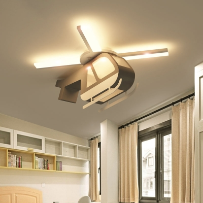 Wood Helicopter Flush Ceiling Light Integrated Led Cartoon Flushmount Light, 23.5